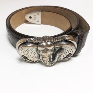 Brighton Elephant Silver Tone Buckle& Leather Belt